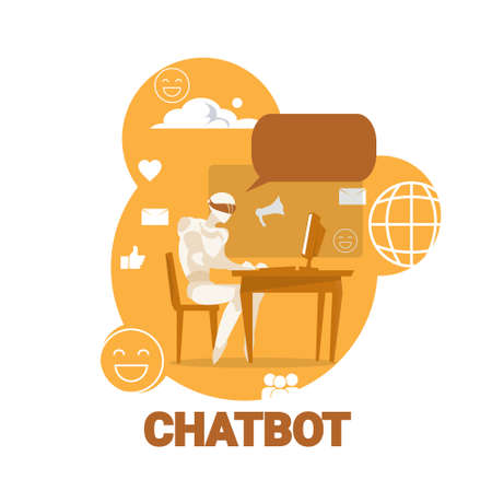 Chatbot Icon Chatter Bot Robot Support Modern Technology Concept Vector Illustration Illustration