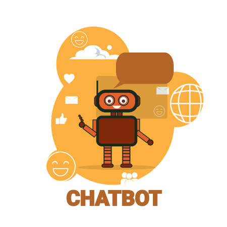Chat Bot Icon Chatterbot Robot Support Artificial Intelligence Concept Vector Illustration