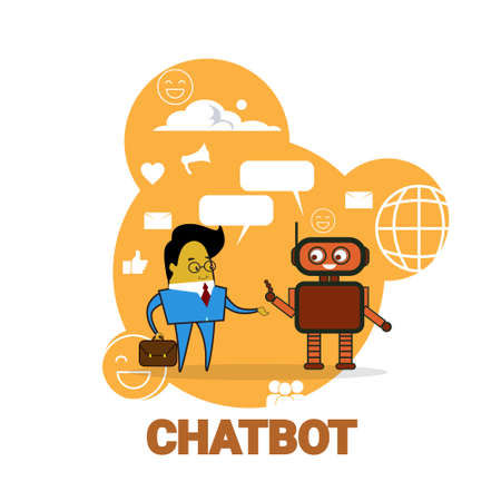 Business Man Chatting With Chatbot Icon Chatter Bot Robot Support Modern Technology Concept Vector Illustration