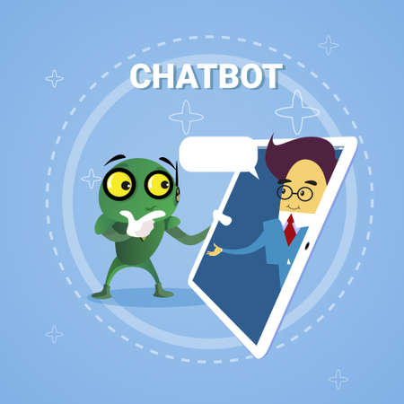 Business Man Chatting With Chatbot Through Digital Tablet Chatter Bot Robot Support Modern Technology Concept Vector Illustration Illustration