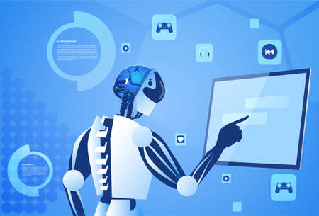 Robot Working Digital Screen Or Monitor Modern Technology And Artificial Intelligence Concept Vector Illustration