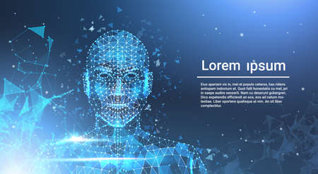 Low Polygon Human Face Wireframe Mash On Blue Template Background With Copy Space Vector Illustration