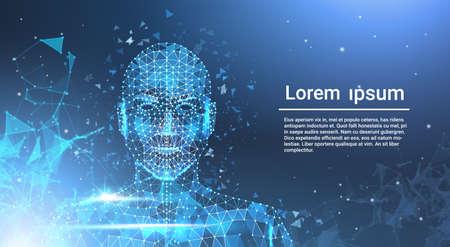 Mash de cara metálica baja de polígono bajo en fondo de plantilla azul con copia espacio ilustración vectorial
