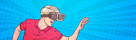 Man Wear Goggles 3d Glasses Virtual Reality Gesturing Pop Art Style Background Horizontal Banner Vector Illustration