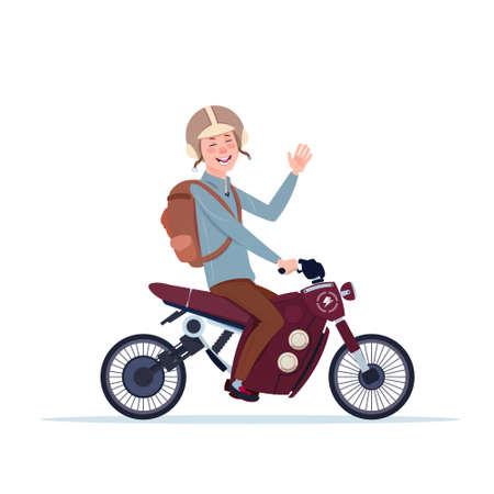Man in helmet riding motorcycle. Ilustracja