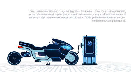 Realistic Motorcycle Charging From Electricity Blue Sport Electric Motorbike On While Background Flat Vector Illustration Ilustracja
