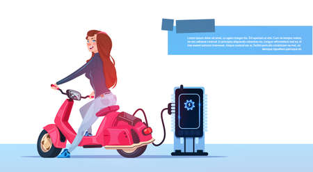 Young Girl Sit Electric Scooter Charging At Station Red Vintage Motorcycle Hybrid Transport Flat Vector Illustration 일러스트