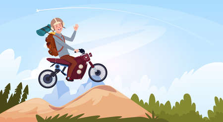Man Riding Off Road Bike In Mountain Wear In Helmet Travel On Motorcycle Transport Concept Flat Vector Illustration Illustration