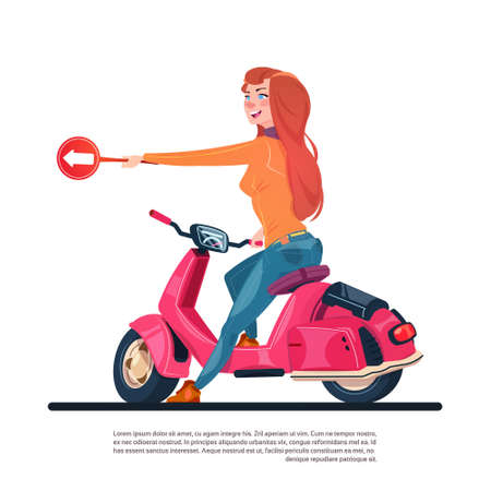 Young girl riding electric scooter hold road sign with arrow flat illustration.