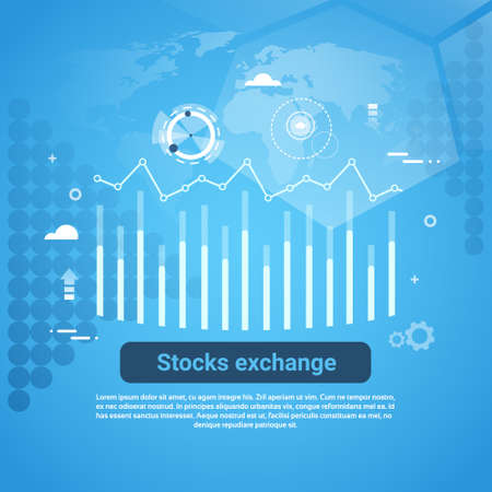 Stock Exchange Concept Business Web Banner With Copy Space Flat Vector Illustration 일러스트