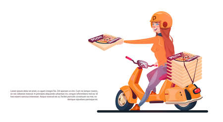 Pizza Delivery Service Young Girl Riding Electric Scooter Shipping Food From Restaurant Banner With Copy Space Flat Vector Illustration
