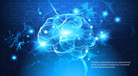 Technology Concept, Digital Brain With Electric Circuit Binary Code Blue Background Vector Illustration