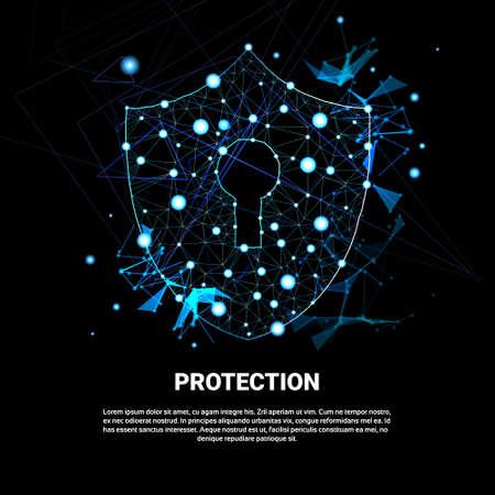 Shield Polygonal Over Dark Background Business Concept Of Data Security And Protection Vector Illustration