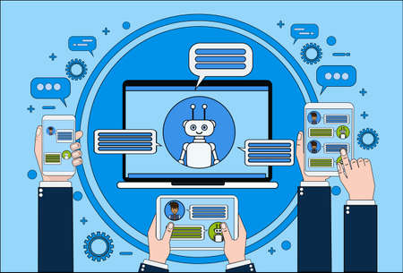 Chat Bot Concept Hand die Laptop, Tablet en Slimme Telefoon houden die met Chatter Online Support Service Technology Concept Vector Illustration babbelen Stockfoto - 91870600