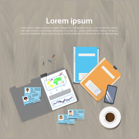 Workplace Concept Office Desk Template Top Angle View Document Folders Banner With Copy Space Flat Vector Illustration Ilustracja