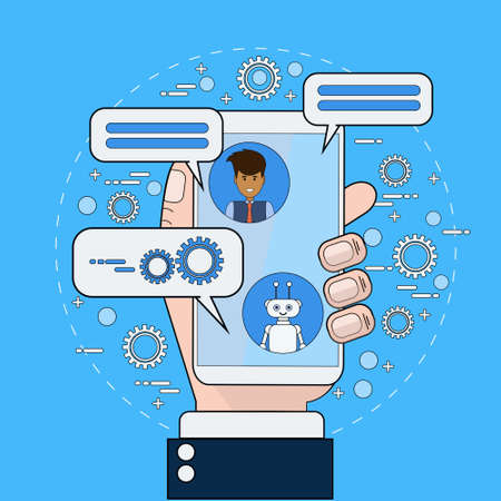 Business Man Communicating With Chatbot Using Smart Phone Modern Chatter Technology Tech Support Service Online Concept Vector Illustration