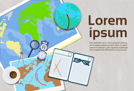 Geography And Cartography Concept Top Angle View Of Workplace Template Banner With Copy Space Vector Illustration Stock Photo