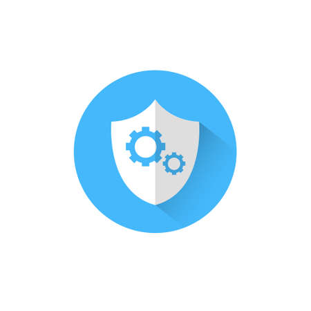 Shield With Cog Wheel Icon Blue Round On White Background Protection And Security Concept Vector Illustration Illustration