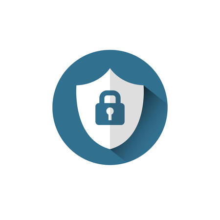 Lock On Shield Icon Protection And Security Concept Vector Illustration