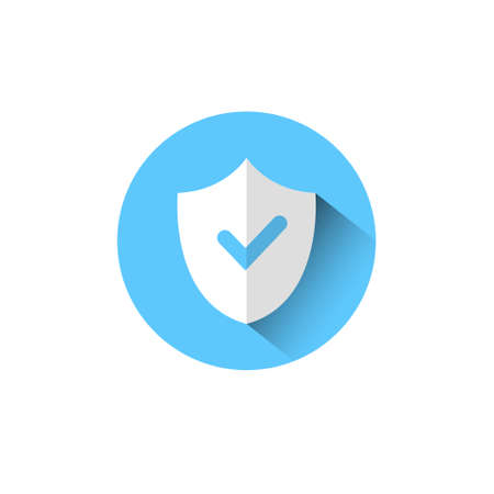 Shield With Check Mark Icon Blue Protection And Security Concept Vector Illustration