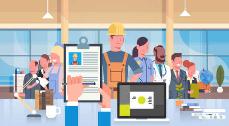 HR Manager Hand Hold Cv Resume Of Construction Worker Over Group Of People Different Professions Choose Candidate For Vacancy Job Position, Recruitment Concept Flat Vector Illustration  イラスト・ベクター素材