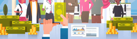 Closeup Banner Of Business Man Boss Giving Money To Mix Race Group Of Businesspeople, Successful Team Salary Or Bonus Concept Flat Vector Illustration
