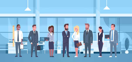 Mix Race Team Of Business People In Modern Office Concept Group Of Successful Businessmen And Businesswomen Workplace Interior Flat Vector Illustration