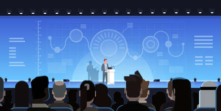 Businessman Leading Presentation Showing Charts Reports In Front Of Businesspeople Group Training Meeting Concept Flat Vector Illustration Illustration