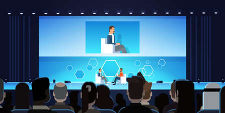 Business Man On Public Interview Conference Meeting In Front of Big Audience Flat Vector Illustration 矢量图像