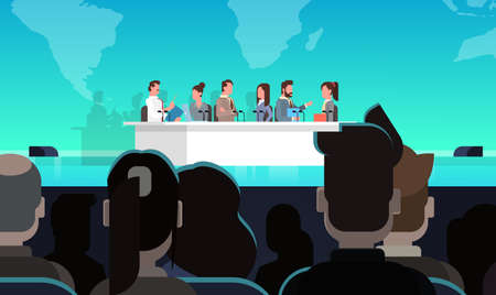 Business Conference Public Debate Interview Concept Official Meeting In Front of Big Audience Flat Vector Illustration