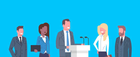 Business Conference Public Debate Interview Concept Businesspeople Meeting Flat Vector Illustration