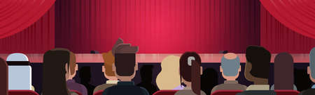 People Sitting At Theater Or In Cinema Looking At Stage With Red Curtains Waiting For Performance Start Back Rear View Horizontal Banner Flat Vector Illustration