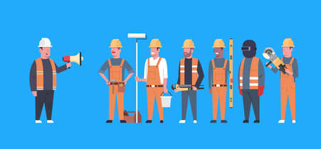 Costruction Workers Team Industrial Technicians Mix Race Man And Woman Builders Group Flat Vector Illustration