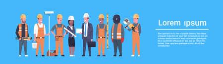 Équipe de travailleurs de la construction Techniciens industriels Mix course homme et femme Groupe de constructeurs bannière horizontale plat Vector Illustration