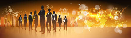 Crypto Currency Concept Silhouette Business People Group Standing Over World Map With Bitcoin Digital Web Money Vector Illustration