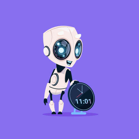 Cute Robot Hold Clock Reminder Isolated Icon On Blue Background Modern Technology Artificial Intelligence Concept Flat Vector Illustration