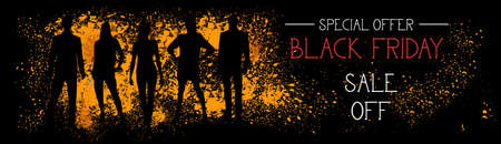 Black Friday Special Offer Sale Off Horizontal Banner With People Silhouettes On Grunge Stroke Background Vector Illustration