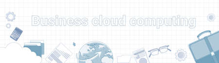 Business Cloud Computing Word On Squared Background Horizontal Banner Data Storage Concept Vector Illustration
