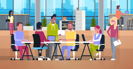 Casual Business People Working Together In Coworking Office Vector Illustration