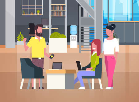 People Working In Coworking Office Vector Illustration