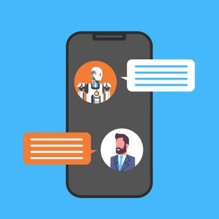 Business Man Chatting With Chatbot Service Using Smart Phone Icon Vector Illustration