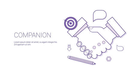 Handshake Icon Business Compaion Concept Cooperation And Agreement Web Banner With Copy Space Vector Illustration
