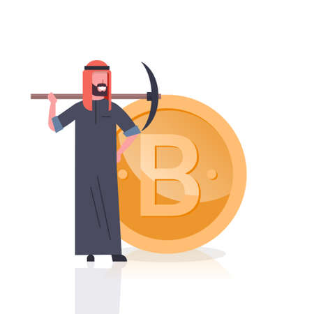 Cryptocurrency Mining Concept Arab Man With Pickaxe Over Golden Bitcoin Coin Isolated On White Background Flat Vector Illustration