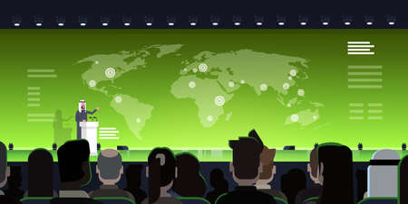 International Conference Meeting Concept Arab Business Man Or Politician Leading Presentation From Tribune Over World Map Arabian Speaker Training With Big Audience Flat Vector Illustration Vettoriali