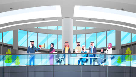 Arab businessman boss hold megaphone. Make announcement colleagues Islam business people. Team group meeting in modern office. Flat vector illustration.