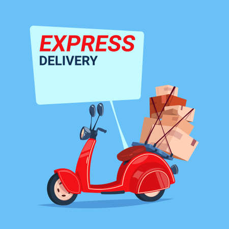 Express delivery service icon.. Retro motor bike with boxes over blue background. Flat vector illustration.