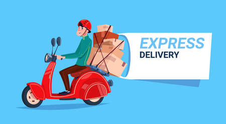 Ikona usługi szybkiej dostawy. Chłopiec kurier na motocyklu. Szablon transparent z miejsca na kopię. Ilustracja wektorowa płaski. Ilustracje wektorowe