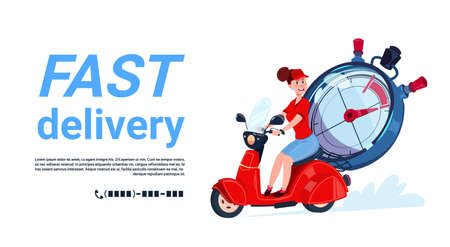 Fast delivery service icon. Courier woman riding motor bike. Template banner with copy space. Flat vector illustration. Stock Illustratie