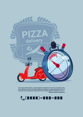 Pizza Delivery Emblem Template Banner With Copy Space Concept Red Motor Bike With Clock Flat Vector Illustration