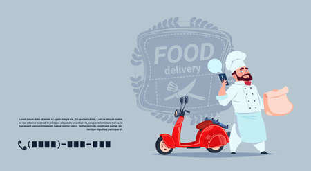 Food Delivery Emblem Concept Chef Cook Standing At Red Motor Bike Over Template Background Banner With Copy Space Flat Vector Illustration Vettoriali